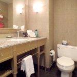 The bathroom was dated; the toilet needed repair, the door kept locking itself; not good