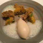 Peach and pistachio dessert