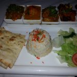Tuesday night offer, rice, two meat dishes, bombay pots, nan bread plus starter