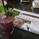 Berry smoothie and english paper