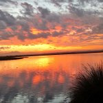 Sunrise on a walking/jogging path at the Bolsa Chica Reserve
