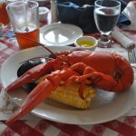 lobster platter with mussels, corn, and potatoes