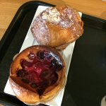 Cherry clafoutis and chocolate and almond croissant