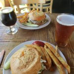 Special of the week burger, Harvest Ale and One-eyed Elmer