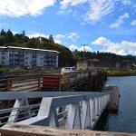 Access via wooden bridge