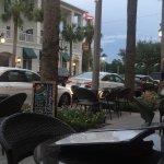 Tables on sidewalk