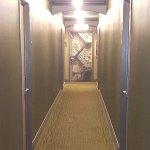 Hallway with painted exit door