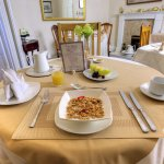 A bit of breakfast elegance with linen tablecloths