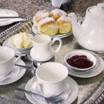The house speciality Devonshire Tea, served with 2 scones, jam, cream and tea or coffee
