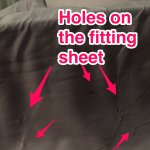 fitted sheet dotted with holes