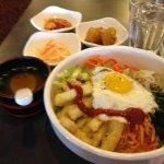 Bibimbap with miso soup, kim chee, cabbage slaw and potato
