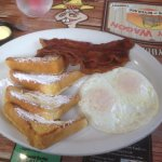 French toast breakfast, with 2 eggs and 2 meats added on