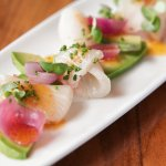 hamachi crudo-  avocado, tomato seed vinaigrette, Red Alaea sea salt