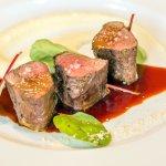 "Deer sirloin steak ""Santini"" with sauce of Port wine and celery purée"