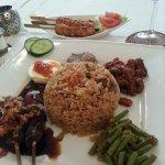 Nasi Goreng Kambing Lengkap, and mussels sateys