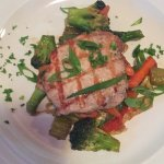 Yummy pork with stir fried vegetables with my favourite creame brûlée