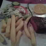 Steak,chips and salad.