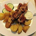 Arroz con mariscos and kebabs - yummy!