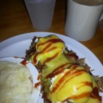 Pulled Pork Eggs Benedict with Grits