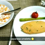 Japanese omelette with soy sauce and spring onions
