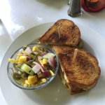 Ham and Cheddar Sandwich with bean salad