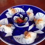 White rose, fish &a chips, stuffed eggplant, tamarind fish, mix vege with pork