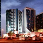 Hotel at night along Sheikh Zayed Road
