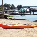 sea kayak rental on beach at Misty Isles