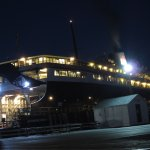 Ferry lit up just before dawn in Ludington