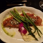 Panko crusted walleye, asparagas and grits