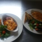 Lasagne and mac and cheese