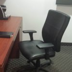 Great work space, good chair with movable arm rests!