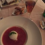 Fish Pate , Duck and Strawberry soup