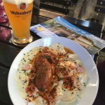 House made sausage and weissebier
