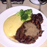 My colleague ordered a massive steak and cheesy grits, and enjoyed it very much