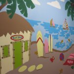 Beach town wall art