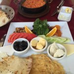 Turkish Breakfast w/ Ottoman omelet in background