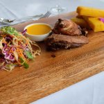 ½ Roast Duck, cooked sous vide then roasted with Olive Oil, served with Polenta fries & Asian sl