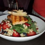 Salad with large serving of salmon