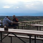 View of badlands from the dining area at the Pitchfork Fondue