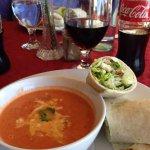 Homemade tomato soup & chicken Caesar wrap