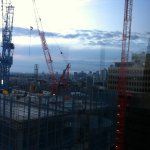 View from the room where 2 of 3 Cranes Cabs can be seen. Wave each morning