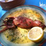 Fresh calamari stuffed with local Ios Cheese - outstanding