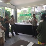 Green hotel team work briefing day . Front desk /service department /house keeping /security ...