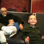 My husband and grandsons relaxing on the super comfy sofa awaiting our pizza at The Lounge cafe.