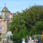 The McKee Clock and old Fountain from the Sunken Gardens, Bangor.