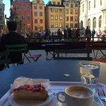 cappuccino, and strawberry cake