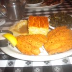 Fried catfish with sides & jalapeno cornbread