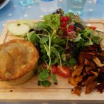 Ham and Pea pie with salad