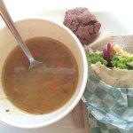 minestrone soup, falafel pita, chocolate brownie